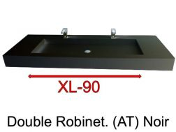 Wash Basins width 160 cm resin Stone XL  black