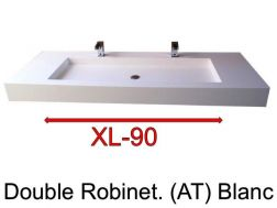 Wash Basins width 190 cm resin Stone XL  white