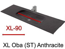 Wash Basins width 200 cm resin Oba Anthracite