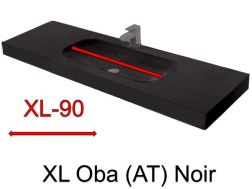 Wash Basins width 150 cm resin Oba XL  black