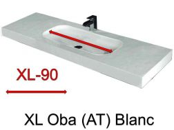 Wash Basins width 200 cm resin Oba XL  white