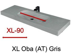 Wash Basins width 200 cm resin Oba XL  grey
