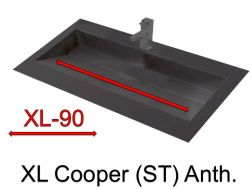 Wash Basins width 160 cm resin Cooper Anthracite