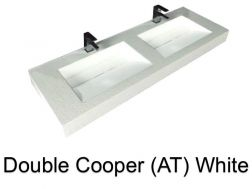 double Wash Basins. 140 cm resin Cooper Lisso white