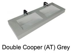 double Wash Basins. 160 cm resin Cooper Lisso grey