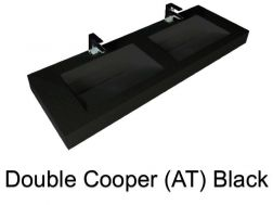 double Wash Basins. 200 cm resin Cooper Lisso Black