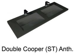 double Wash Basins. 140 cm resin Cooper Lisso Anthracite