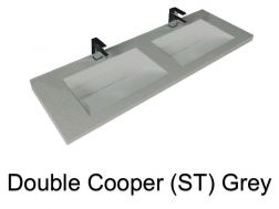 double Wash Basins. 140 cm resin Cooper Lisso grey