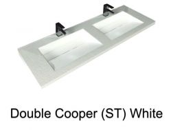 double Wash Basins. 160 cm resin Cooper Lisso white