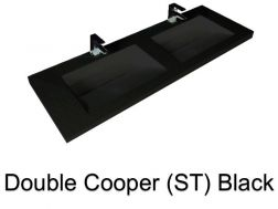 double Wash Basins. 160 cm resin Cooper Lisso Black