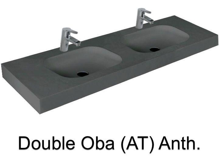 washbasin ur 140 double Wash Basins width 140 cm resin OBA