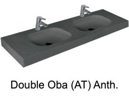 double Wash Basins. width 140 cm resin OBA Lisso Anthracite
