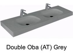 double Wash Basins. width 200 cm resin OBA Lisso grey