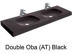 double Wash Basins. width 200 cm resin OBA Lisso black