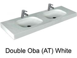 double Wash Basins. width 200 cm resin OBA Lisso white