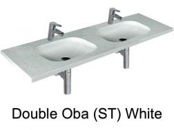 double Wash Basins. width 140 cm resin OBA Lisso white