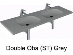 double Wash Basins. width 150 cm resin OBA Lisso grey