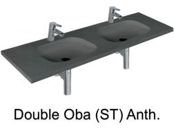 double Wash Basins. width 200 cm resin OBA Lisso Anthracite