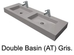 double Wash Basins. width 190 cm resin Still Lisso grey