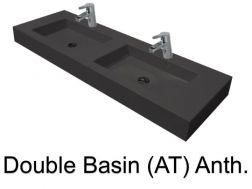double Wash Basins. width 200 cm resin Still Lisso Anthracite
