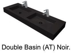 double Wash Basins. width 200 cm resin Still Lisso black