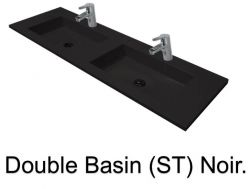 double Wash Basins. width 150 cm resin Still Lisso black