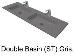 double Wash Basins. width 200 cm resin Still Lisso grey