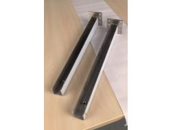Discreet mounting brackets, for wall-hung washbasin, with front.