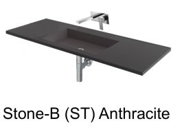 Wash Basins 160 cm resin, the tap to the wall, Stone Anthracite