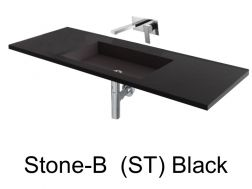 Wash Basins 160 cm resin, the tap to the wall, Stone black