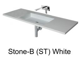 Wash Basins 190 cm resin, the tap to the wall, Stone white