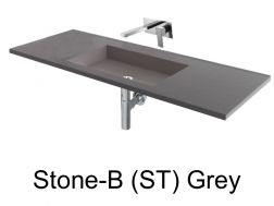 Wash Basins 75 cm resin, the tap to the wall, Stone Grey