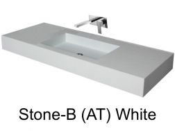 Wash Basins 140 cm resin, the tap to the wall, Stone white