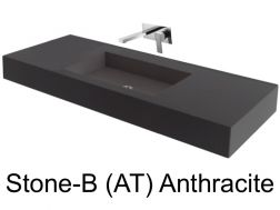 Wash Basins 75 cm resin, the tap to the wall, Stone Anthracite