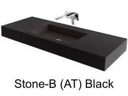 Wash Basins 75 cm resin, the tap to the wall, Stone Black