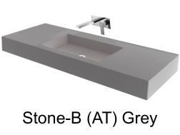 Wash Basins 85 cm resin, the tap to the wall, Stone grey