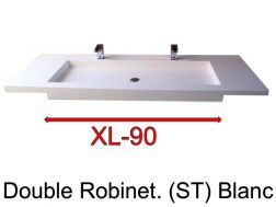 Wash Basins width 160 cm resin Stone XL  White