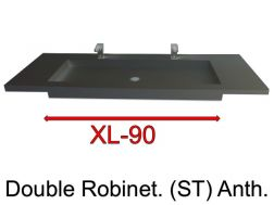 Wash Basins width 200 cm resin Stone XL  Anthracite