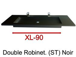 Wash Basins width 200 cm resin Stone XL  Black