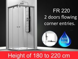 Shower corner entries, 100x100 cm, height of 180 to 220 cm, FR 220