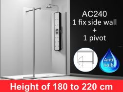 shower wall 130__plus__35cm, a fixed panel with a pivoting panel , mounting right, height 180-220 cm, AC240.