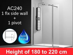 shower wall 130__plus__35cm, a fixed panel with a pivoting panel , mounting left, height 180-220 cm, AC240.