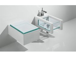 Cuvette WC suspendu Design, Glass blanc