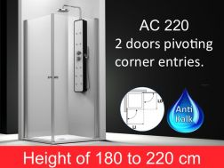 Shower door pivotally corner entries, 65x65 cm, height of 180 to 220 cm, AC 220