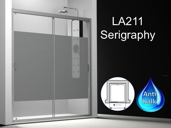 Sliding Shower Door 165 Cm, Decor Serigraphy, Height Of 180 To 220 Cm,