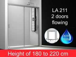 Shower door 2 doors flowing 165 cm, height of 180 to 220 cm, LA-211