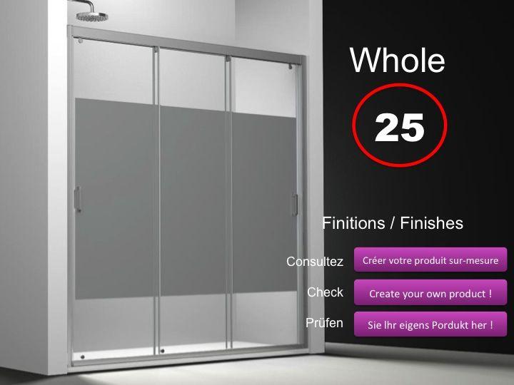 Sliding Shower Door 3 Panels 145 Cm, Decor Serigraphy, Height Of 180 To 220