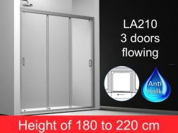 sliding shower door 3 panels 165 cm, height of 180 to 220 cm, LA-210