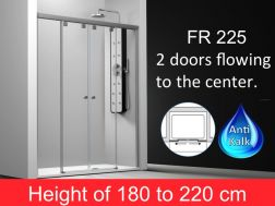 Shower door 4 panels, 2 central sliding doors, 165 cm, height of 180 to 220 cm, FR 225