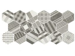 Art Deco 2 Cement GEO Grey 17,5x20  - Floor tile hexagonal, imitation cement tiles, Porcelain.
